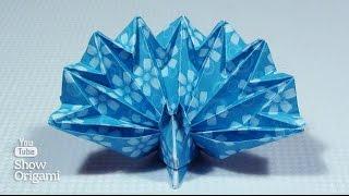 Оригами #павлин из бумаги