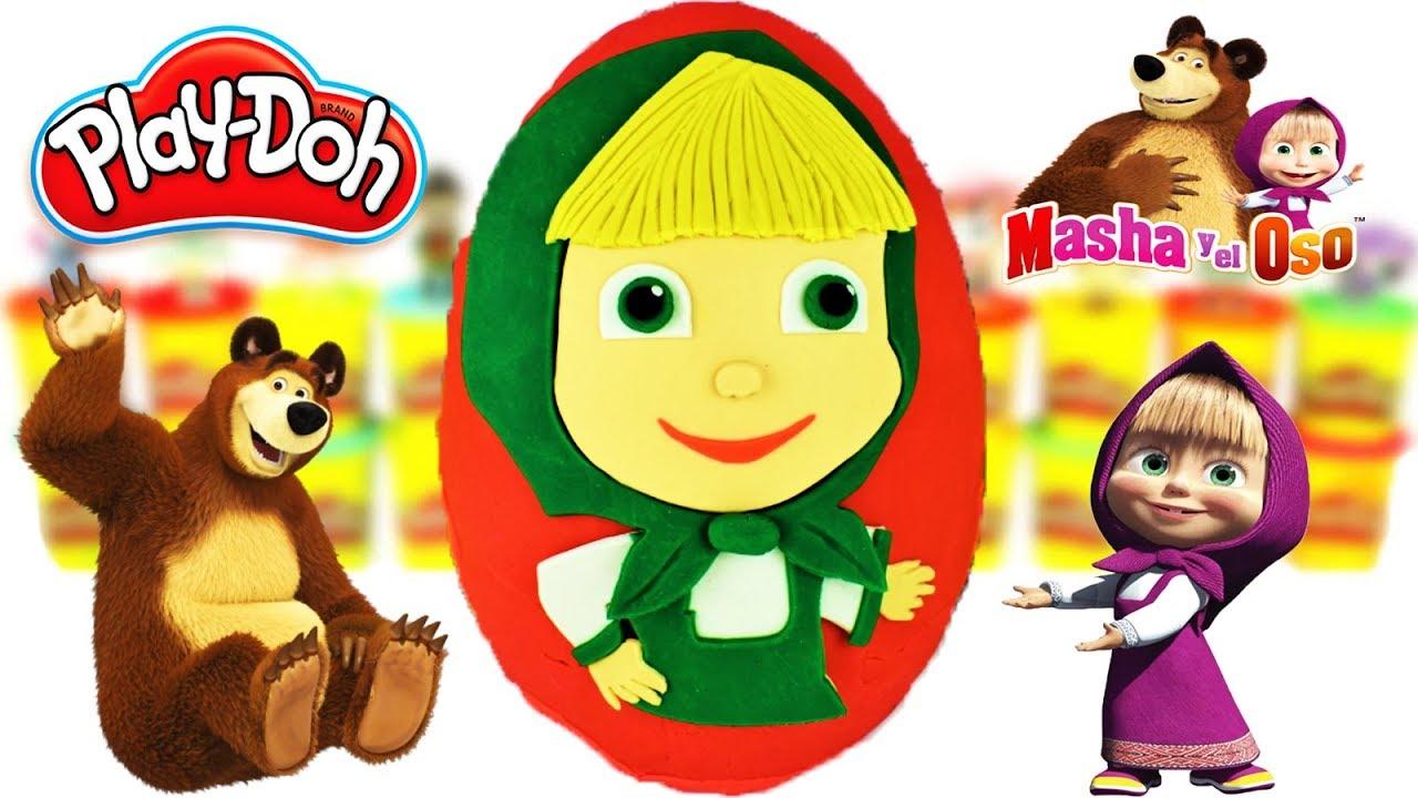 Huevo Sorpresa Gigante de Masha y el Oso de Plastilina Play Doh en Español Masha and The Bear