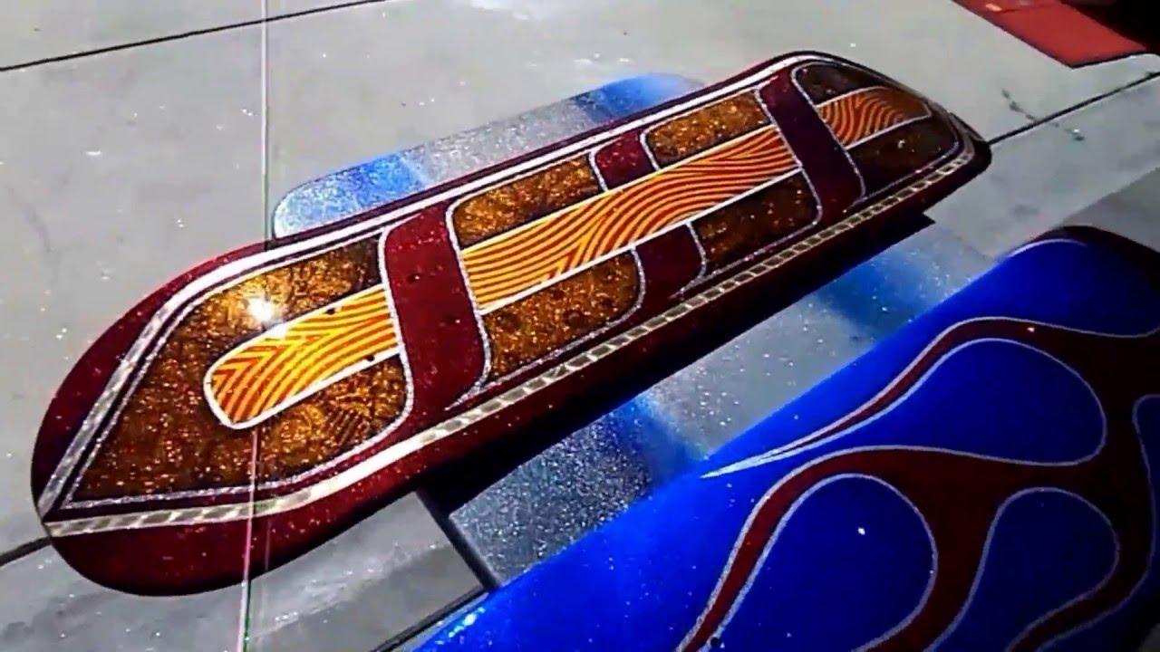 Custom painted skateboards by zrod youtube for Best paint for skateboard decks