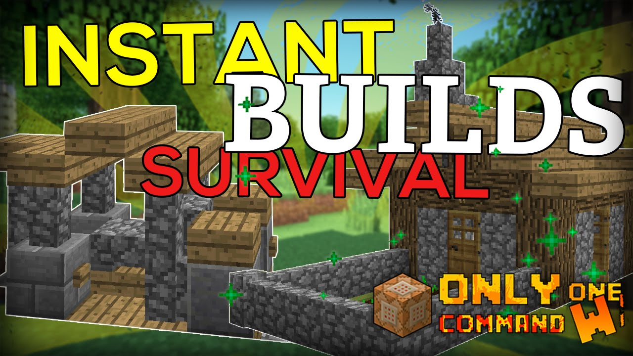Instant Survival Buildings With One Command Block