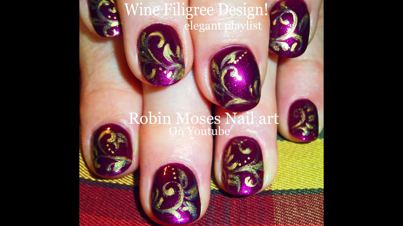Purple Nail Art | Wine With Gold Filigree Nails design tutorial ...