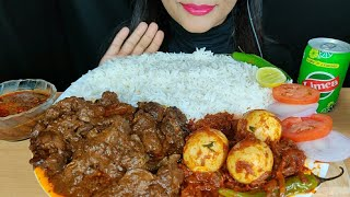ASMR:EATING CHICKEN LIVER & GIZZARD CURRY,SPICY EGG MASALA WITH RICE(EATING SHOW)