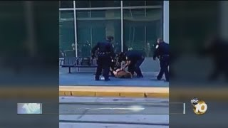 MTS officers take down man at trolley stop