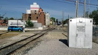 Eastbound loaded Wheeling & Lake Erie stone train through Medina Ohio railroad