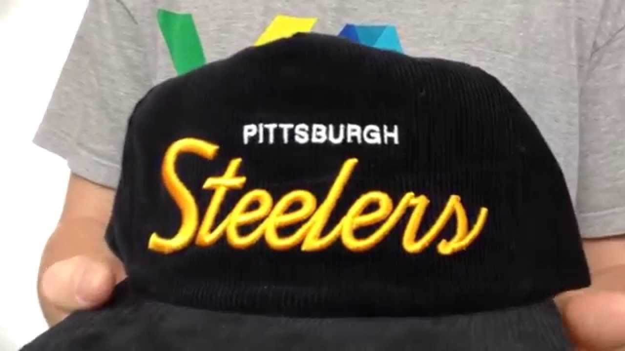 Steelers  CORD-SCRIPT STRAPBACK  Black Hat by Mitchell   Ness - YouTube fc8f54b4b4f
