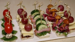 Топ 4 канапе на праздничный стол Новогодние рецепты 2020 Закуски на шпажках