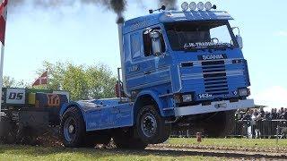 "Scania 143M V8 Turbo ""Berta"" Pulling The Sledge to The Edge at Sdr. Vissing Power Pull   DK Pulling"