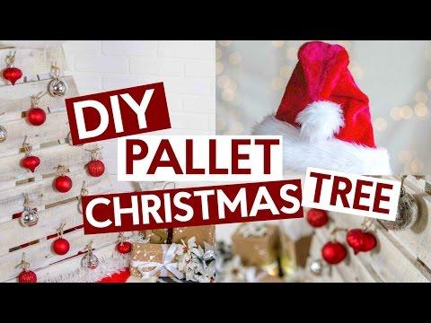 DIY PALLET CHRISTMAS TREE   EASY CHRISTMAS DECOR