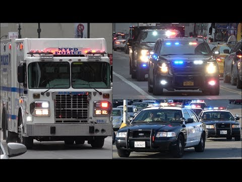 Police responding compilation - BEST OF 2017 - Siren, horn & action with police cars