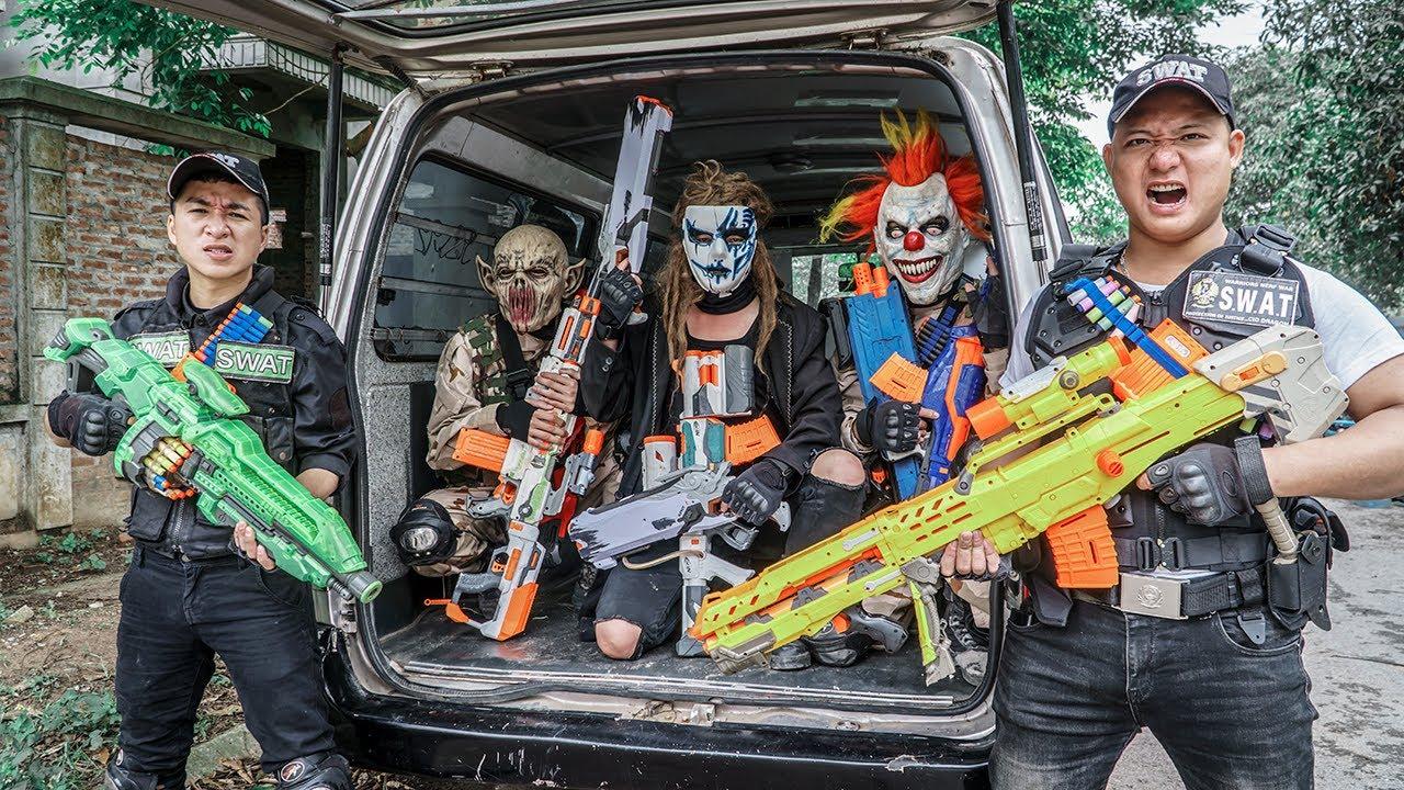 Download [ 1 Hour Nerf War ] Warriors Black Man Nerf Guns Fight Crime RED SATAN Mask 2