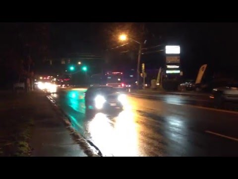Brockton Ma Bus at night time.