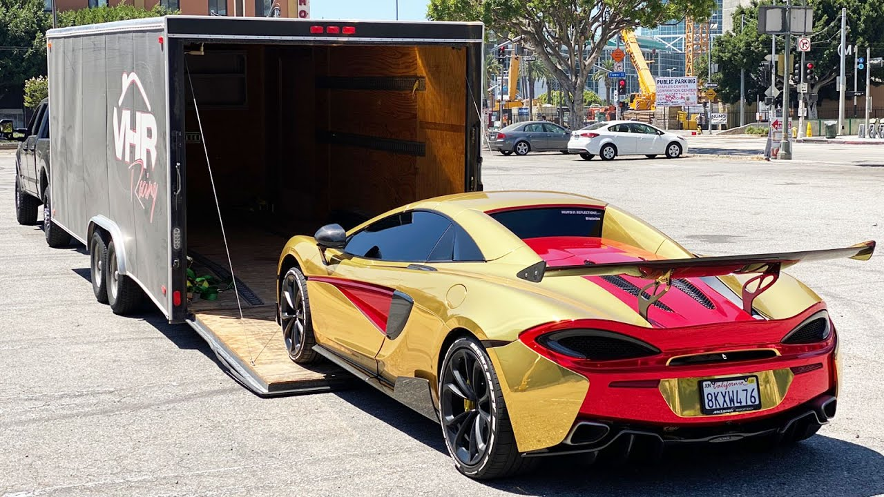 TAKING DELIVERY OF MY GOLD WRAPPED MCLAREN! *NEVER SEEN BEFORE*