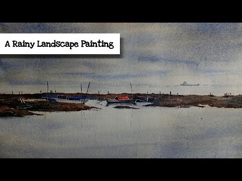 A Rainy landscape painting | Cloudy sky in watercolor.