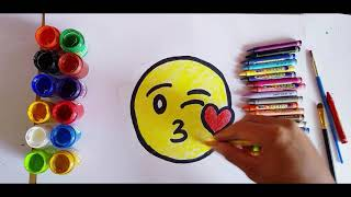 Cute Emoji Smiley Face Drawing , Coloring  , Funny drawing for children