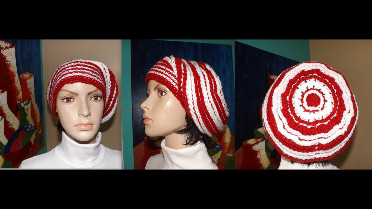 Crochet Gorro Caido O Boina - YouTube 7dfc9aeded3