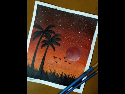 كيفية رسم غروب الشمس بمنطقة استوائية بألوان الاكريليك حقا ستستمع بمنظر الرسمة بالنهاية