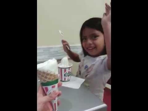 Daira happy  at Ritas italian ice cream