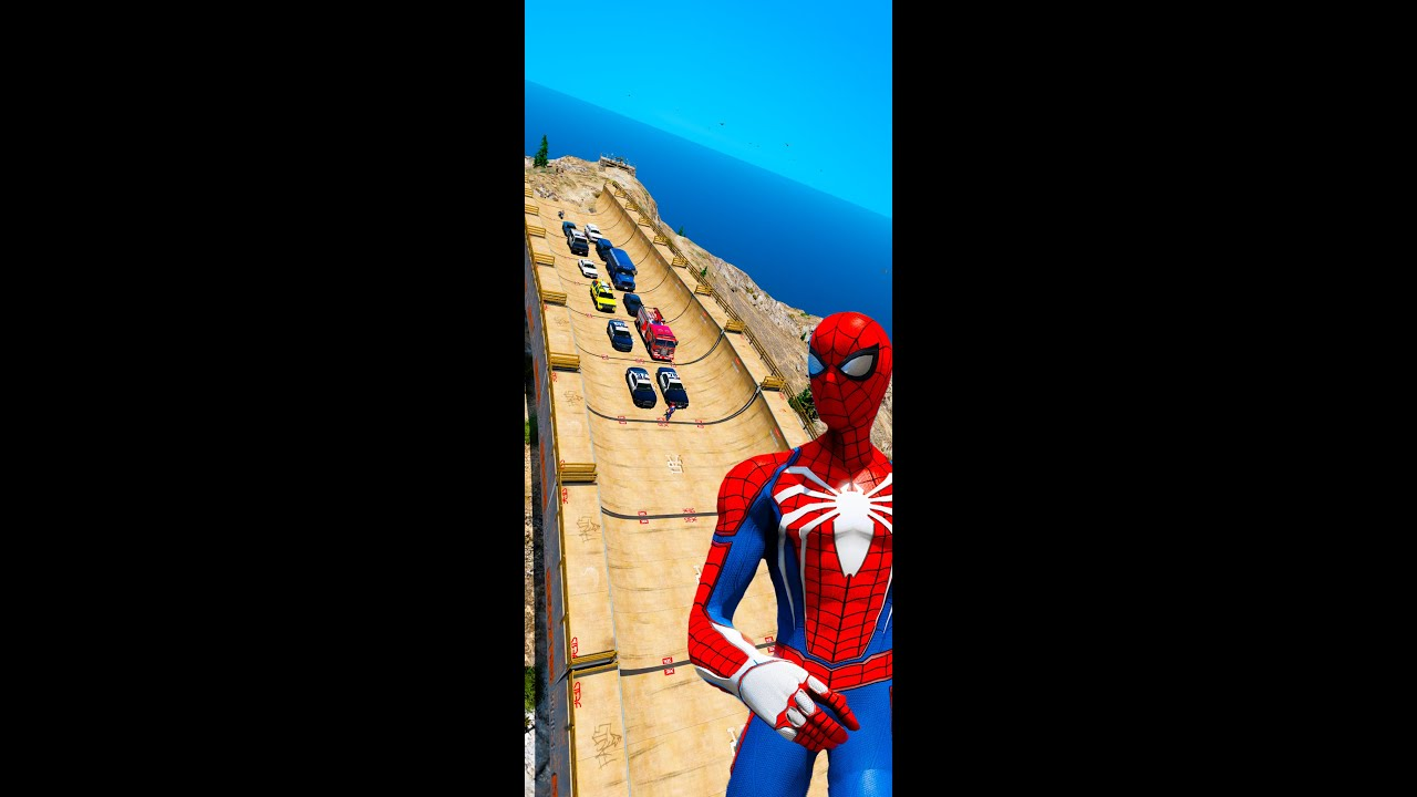 Spiderman on Ramps Police Car GTA V