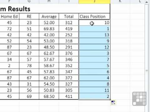 ms excel 2010 tutorial use a formula to rank scores in excel youtube