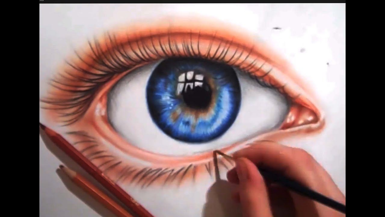 drawing an eye using colored pencils youtube - Color Drawings