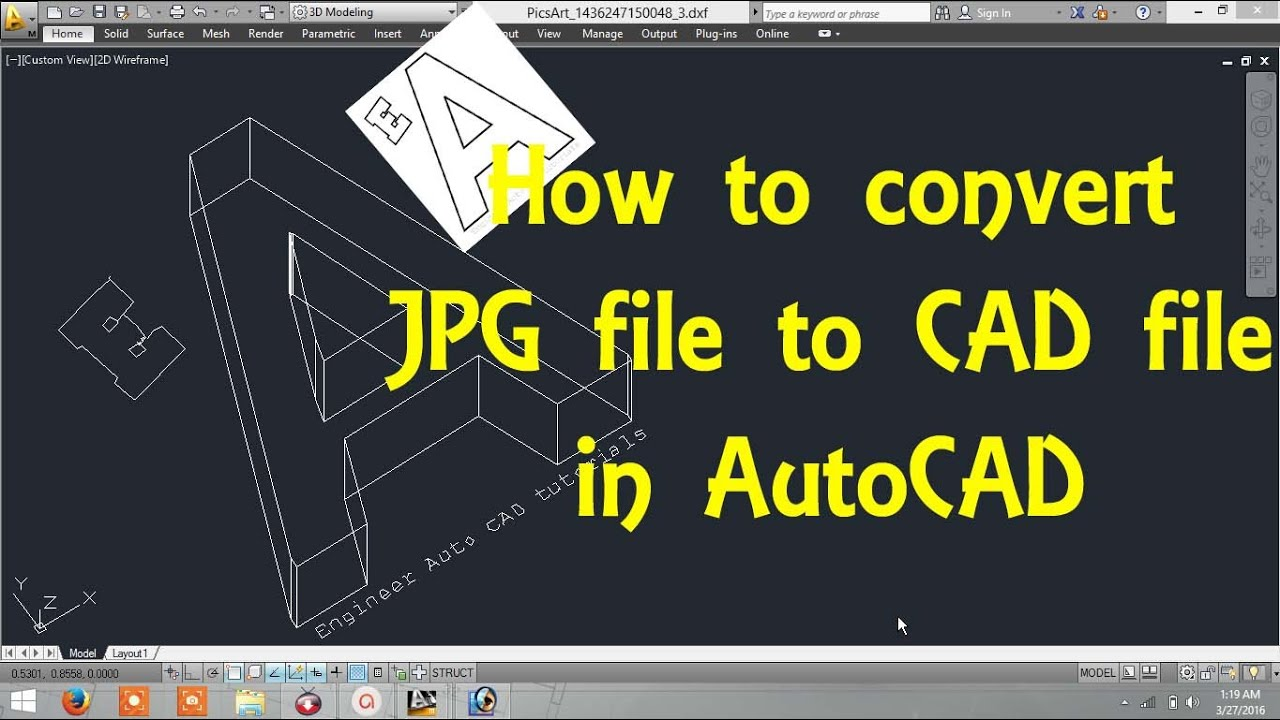how to convert image file  jpg file  to cad file in autocad by engineer autocad tutorials