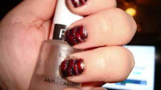 Glittery Nail Tutorial (Intense Red Black Silver Tiger Stripes) Thumbnail