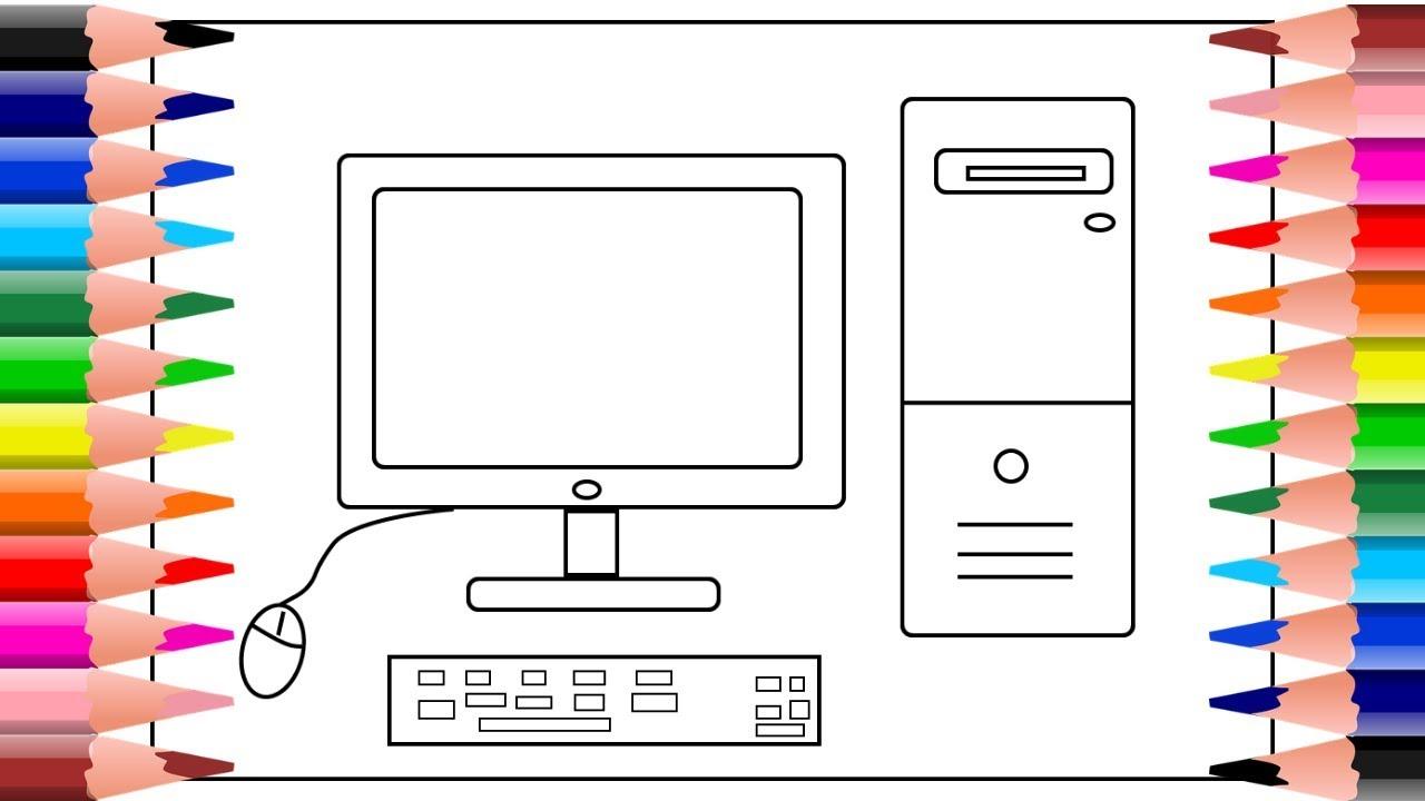 Como dibujar una computadora facil | dibujos para colorear - YouTube