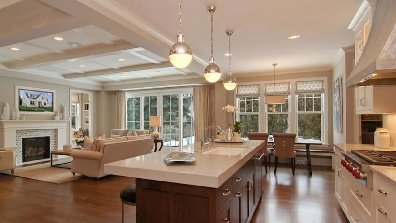 Open concept kitchen living room small space youtube - Open concept kitchen living room designs ...