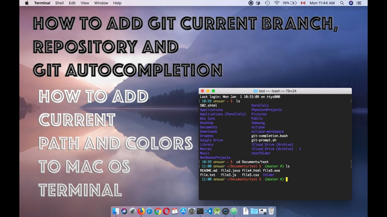 How to add Git current branch repository to mac os terminal + customize  terminal output colours