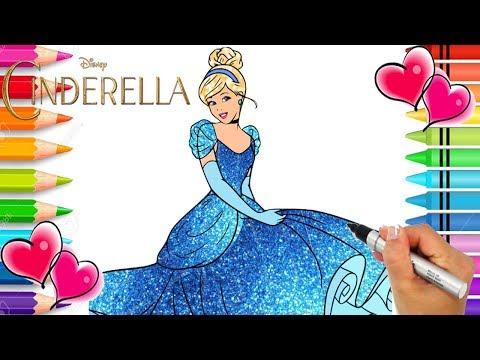 Cinderella Ball Gown Coloring Page   Cinderella Beautiful Dress   Glitter   Disney Princess Coloring