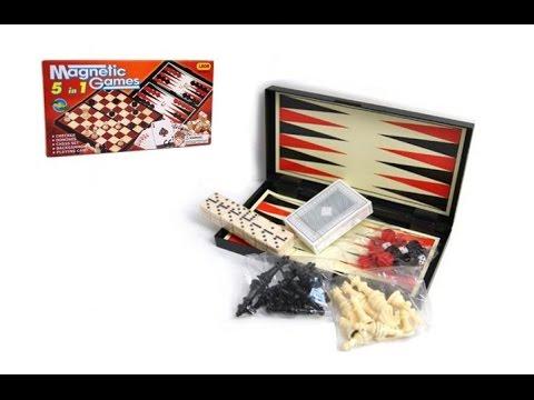 Игровой набор Шахматы 9841A, 5в1 нарды,шашки,домино,карты