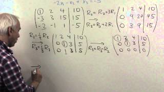 solve three simultaenous equations with gaussian elimination ch4 pr14e
