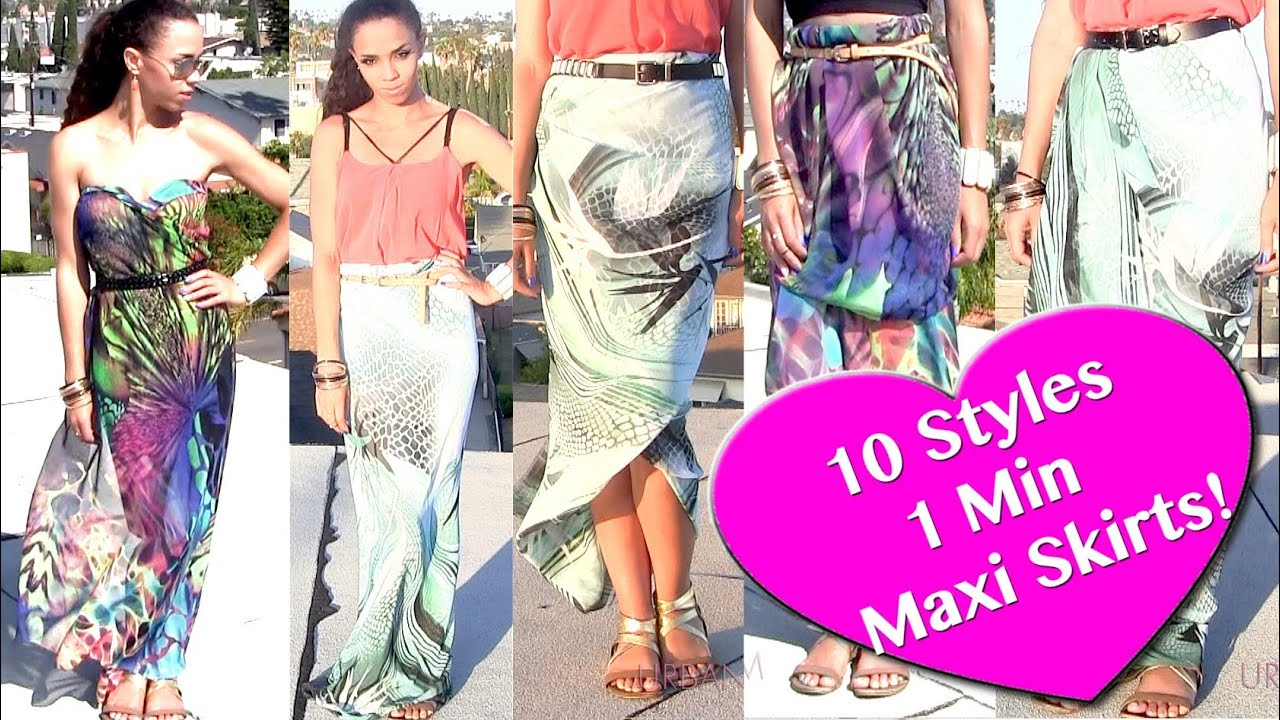 10 Ways to Wear 1 Scarf As a Skirt & Dress! DIY Maxi Skirt NO SEW in ...