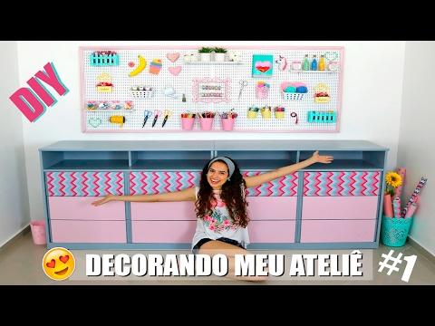 DECORANDO MEU ATELIÊ #1 - DIYs PEGBOARD e GAVETEIRO | Paula Stephânia
