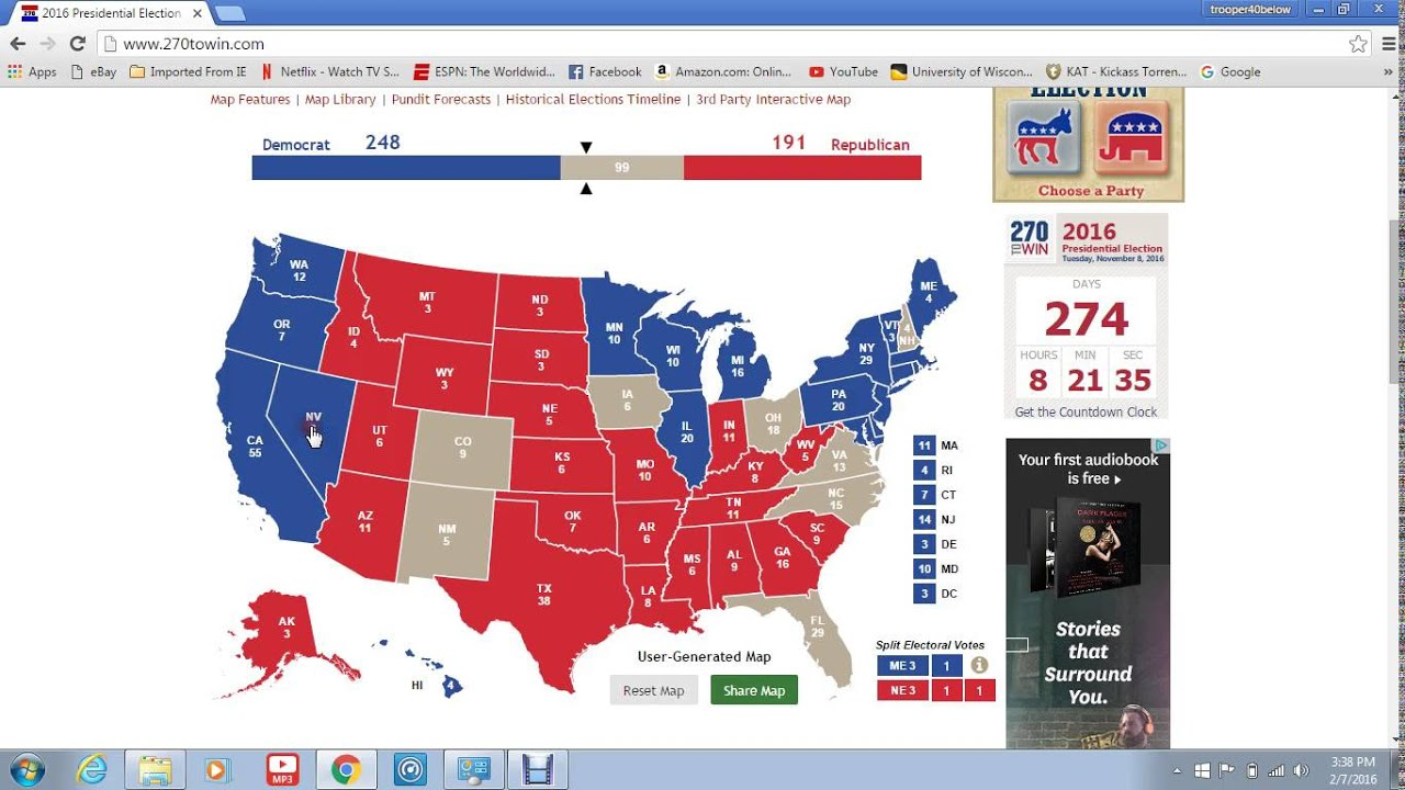 electoral college map 2016 democrat candidate vs republican candidate youtube