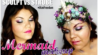 Mermaid Summer Makeup!  ❤ SCULPT VS STROBE Challenge #IAmFreedom