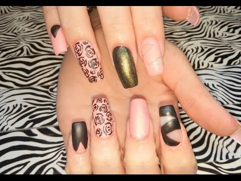 Acrylic Nails L New Set Black Nail Design