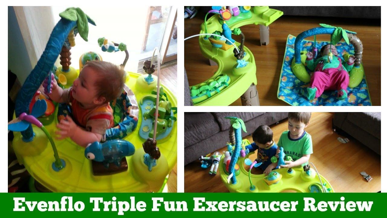 61eb3c36979a Evenflo triple fun exersaucer review - YouTube