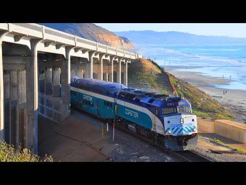 Trains Along the Pacific Ocean