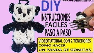 Repeat youtube video COMO HACER UN PANDA DE GOMITAS CON DOS TENEDORES. VIDEO TUTORIAL DIY FIGURA CHARM