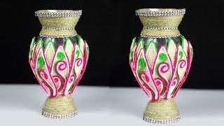 Plastic bottle and jute flower vase unique idea | Easy Luxury Flower Vase Making at Home