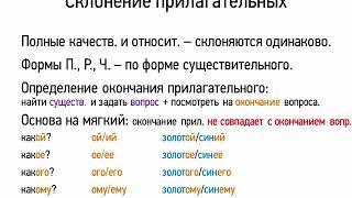 Склонение прилагательных (6 класс, видеоурок-презентация)