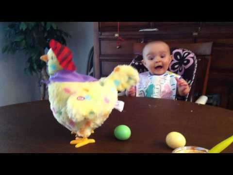 "Baby's shocked reaction to an Easter hen laying eggs - ""Wanna see it again?"""