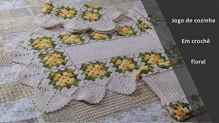 Jogo de cozinha em crochê floral