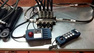 Radio Remote Controller HM-line 800  hydraulic valve 4 spool 80 l/min (21GPM) 12VDC video