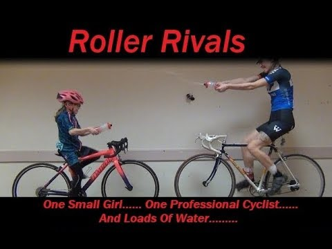 Roller Rivals - 9 year old takes on professional cyclist in water bottle duel...