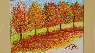 Marker Art : Fall Foliage Line of Trees