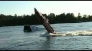 Bizarre boat wheelie