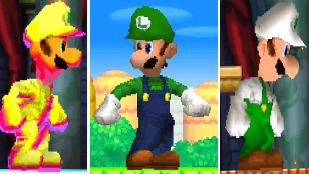 New Super Mario Bros Ds All Giant Luigi Powerups Youtube