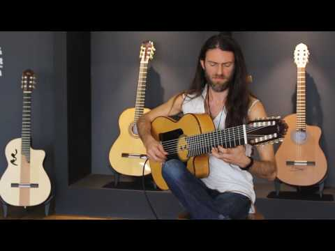 Estas Tonne plays his new guitar at MR factory